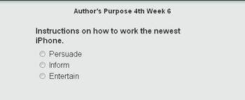 Author's Purpose Self Checking Online Short Quiz Va SOL 3rd, 4th, 5th