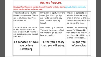 Author's Purpose Short Stories cut and sort activities with Assessment