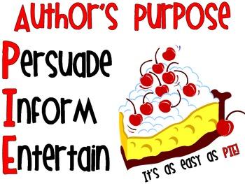 Author's Purpose- Simple PIE Poster!