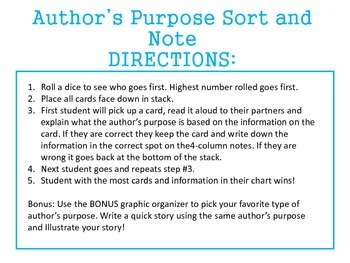 Author's Purpose: Sort and Note