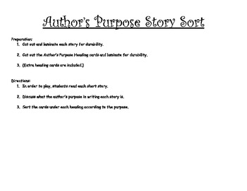 Author's Purpose Story Sort