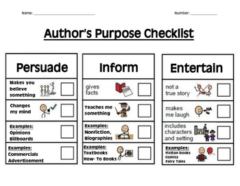 Authors Purpose Student Checklist
