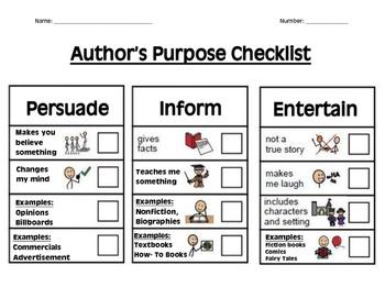 Authors Purpose Student Checklist