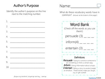 Author's Purpose Task Cards with PHOTOS {Differentiated}