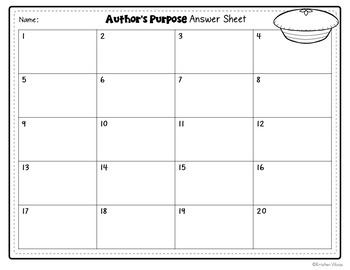 Author's Purpose Task Cards or Scoot Game