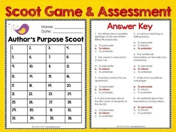 Author's Purpose 36 Task Cards, Scoot, Assessment, and Boom Cards
