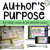 Author's Purpose 36 Task Cards AND 36 Boom Cards for Dista