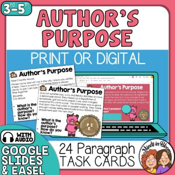 Author's Purpose Task Cards using PIE! Color and Black Line Cards Included