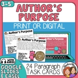 Author's Purpose Task Cards using PIE Print and Digital wi