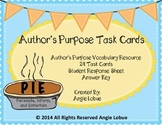 Author's Purpose Task Cards & Vocabulary Resource: Persuade, Inform, & Entertain