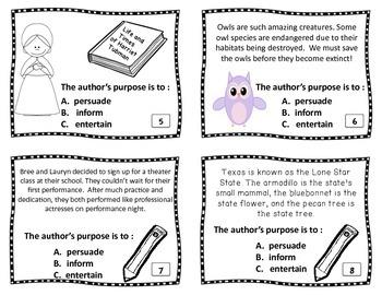 Author's Purpose Task Cards & Vocabulary Resource: Persuade, Inform, & Entertain