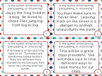 RI 2.6 Task Cards- Authors Purpose