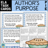 Author's Purpose Task Cards & Assessment (Plus BOOM CARDS Bonus)