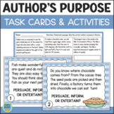 Author's Purpose Task Cards & Assessment (Plus BOOM CARDS Bonus)