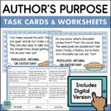 Author's Purpose Task Cards & Assessment (Plus DIGITAL Boom Cards)