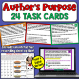 Author's Purpose Task Cards with Distance Learning Option