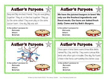 Author's Purpose Task Cards  {Primary Grades}