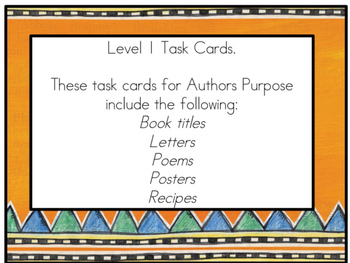 Authors Purpose Task Cards SAMPLE