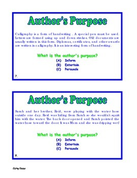 Authors Purpose Task Cards Set