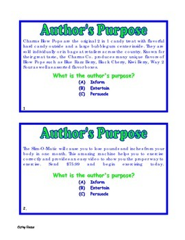 Authors Purpose Task Cards Set