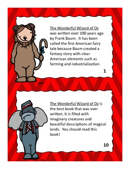 Author's Purpose Task Cards (Wizard of Oz Themed)