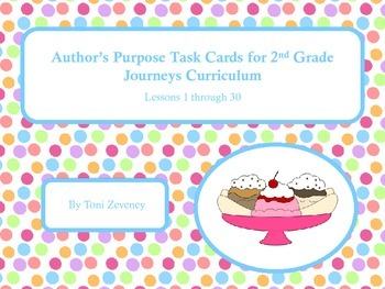 Author's Purpose Task Cards for Journeys 2nd Grade