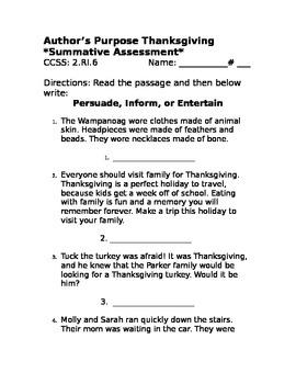 Author's Purpose- Thanksgiving Assessment