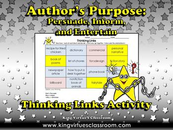 Author's Purpose Thinking Links Activity - King Virtue's Classroom