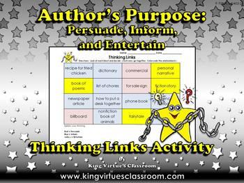 Author's Purpose Thinking Links Activity - King Virtue's C