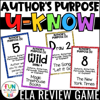Author's Purpose Game {5 Types} for Literacy Centers