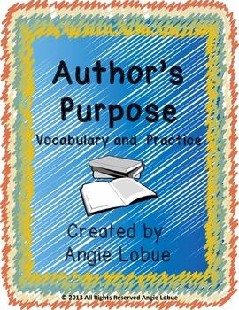 Author's Purpose Printable & Vocabulary