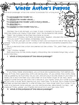 Author's Purpose Winter Passages Worksheet Packet
