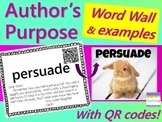 Author's Purpose Word Wall {with Example Passages & QR Codes}