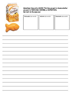Author's Purpose Writing Activity - Goldfish