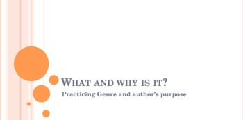 Authors Purpose and Genre Activity Packet