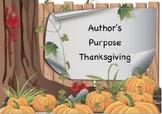 Author's Purpose and Interpretation for Thanksgiving
