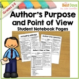 Author's  Point of View / Author's Perspective and Purpose Notebook Pages
