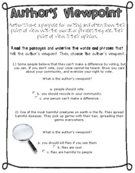 Author's Purpose and Point of View by Ginger Snaps | TpT