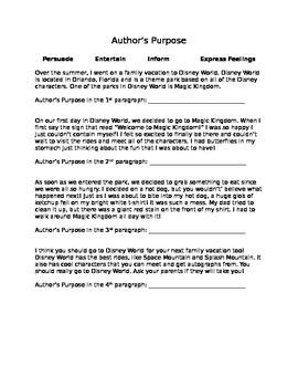 Author's Purpose for Grades 2-4