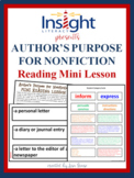 Author's Purpose for Nonfiction Mini Lesson w/ Hands On Activity
