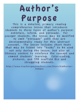 Author's Purpose for Primary - Lesson Plan, Literacy Center Resources