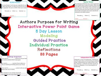 Authors Purpose for Writing-Power Point-Help Students Analyze & Comprehend Text