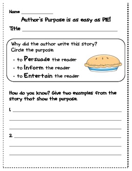 Author's Purpose- identifying and proving