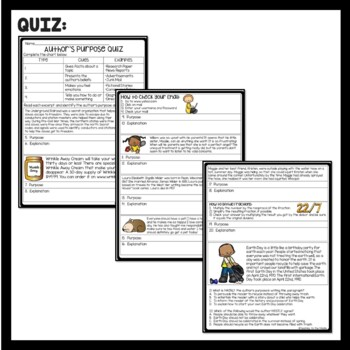 Author's Purpose tutorial- chart & practice, ELA test prep. remediation