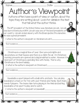 author 39 s viewpoint activity by kristen ojard teachers pay teachers. Black Bedroom Furniture Sets. Home Design Ideas