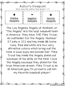 Author's Viewpoint Mini Lesson BASEBALL Edition