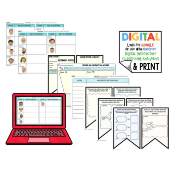 Authors Word Wall, Profiles, Activity Pages Digital with Google Link