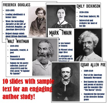 Authors of American Literature Magic Portrait Videos and PowerPoint