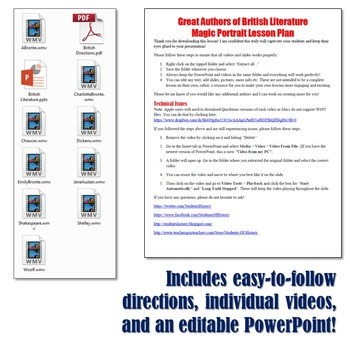 Authors of British Literature Magic Portrait Videos and PowerPoint