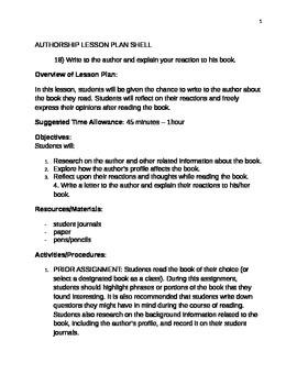 Authorship Lesson Plan Shell #18